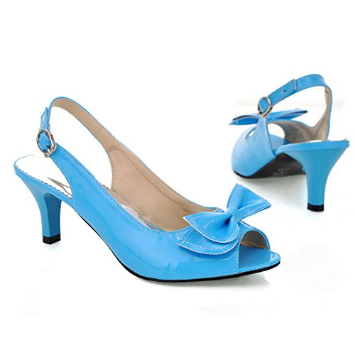 nonbrand femmes de Bloc Talon Slingbacks synthétique Bleu - bleu