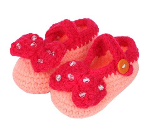Bigood(TM) 1 Paar Strickschuh One Size Strick Schuh Baby Unisex süße Muster 11cm Blüte Pink A Pink D