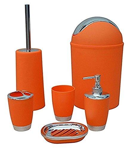 keraiz 6-teilig Badezimmer Zubehör Set, Orange, 12,4x 7,9x 7,6cm