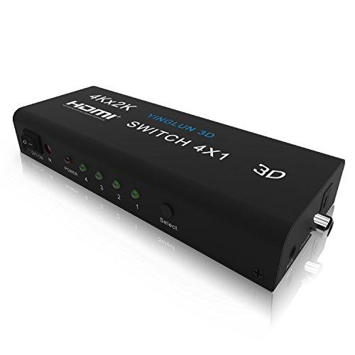 YINGLUN 4 Puertos HDMI Switch + salida de audio: Toslink digital coaxial 3.5 mm auriculares con control remoto IR adaptador de alimentación 3840 * 2160 / 30Hz 3D V1.4