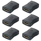 TOOHUI 6 Pezzi Accoppiatore HDMI, HDMI Femmina a Femmina Adattatore per Estendere la Lunghezza del Cavo HDMI, Adattatore HDMI a HDMI Placcato in Oro, Nero