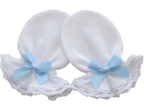 Moufles anti-grattage pour nouveau-né, 100% jersey de coton et dentelle, faites à la main (blanc) blanc Light Blue Bow 0-3 mois