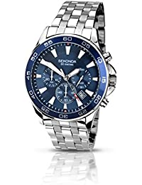 amazon co uk sekonda watches sekonda men s quartz watch blue dial chronograph display and silver stainless steel bracelet 105827