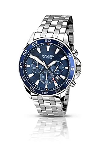 Sekonda Men's Quartz Watch with Blue Dial Chronograph Display and Silver Stainless Steel Bracelet 105827