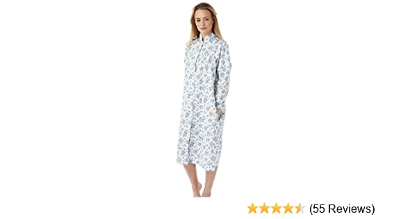 Ladies Marlon Lightweight Floral Quilted Button Front Gown, Dressing ...
