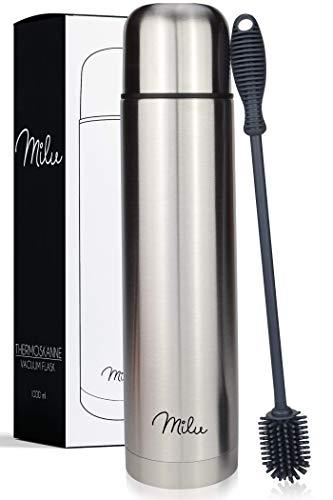 Milu Thermosflasche Thermoskanne Isolierflasche 1L - Isolierte Edelstahl Trinkflasche, 100% Auslaufsicher, Doppelwandisolierung (Edelstahl, 1000 ml)