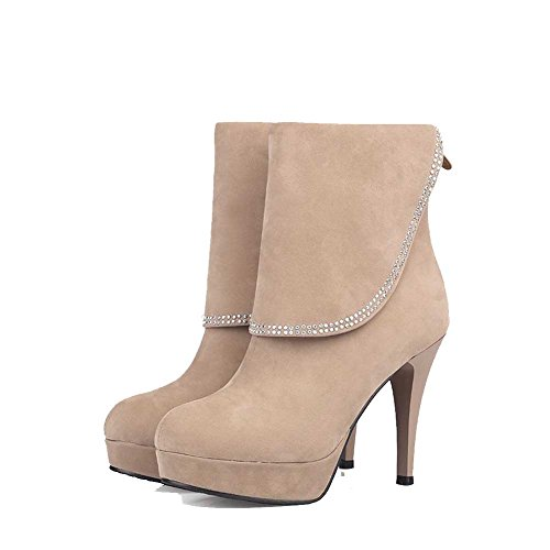 VogueZone009 Damen Hoher Absatz Niedrig-Spitze Reißverschluss Stiefel, Cremefarben, 40