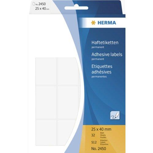 Preisvergleich Produktbild HERMA 2450 Haftetiketten 25x40mm VE=512 Stück weiß