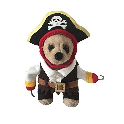 Hund Katze Stand Up Polizei Kostüm Pirat Rolle spielen Haustier Kleidung Jumpsuit für Halloween ()