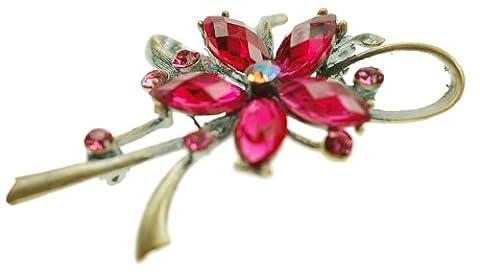 Janeo Brooches £9.99 - Fuchsia Tropfenschliff pink/rosa Cristal
