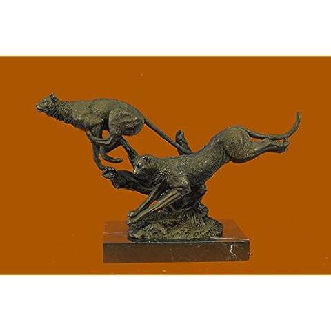 Statua di bronzo Scultura...Spedizione Gratuita...Superba Art Deco 100% Grande Puma / leopardo / Jaguar / Big Cat Deco(XN-2524-UK)Statue Figurine Figurine Nude per ufficio e casa Décor Primo Giorno Cal