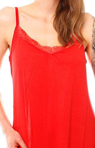 Easy Young Fashion Damen Jersey Negligée Unterkleid Rot