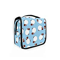 Moyyo Cute Sheep Animals Toiletry Bag Travel Wash Bag Organised Toiletry Bag Hanging Toiletry Bag Gym Camping Toiletry Bag Portable Cosmetic Organiser Bag for Women Girls Kids