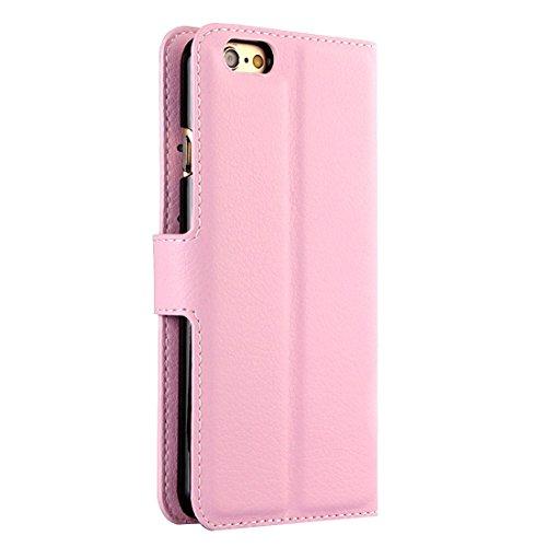 Phone case & Hülle Für iPhone 6 Plus / 6s Plus, Litchi Texture Horizontale Flip Leder Tasche mit Halter & Card Slots & Wallet ( Color : White ) Pink