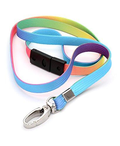 CKB Ltd® 10x Breakaway Ombre-Farbe Mehrfarbig Bunt Premium Lanyards Band Halsband Metall-Klipp For Ausweiskartenhalter Neuheit Flippig Schlüsselband mit Sicherheitsverschluss Schlauchband -