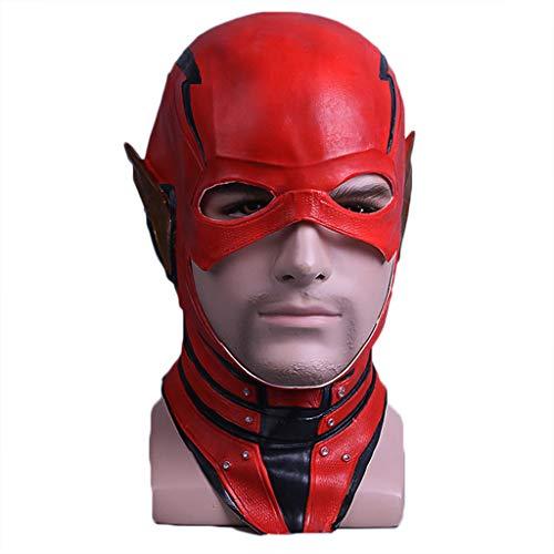 Männer Kostüm Flash - GanSouy Rote Maske Deluxe Latex Helm Film Cosplay Replika Requisiten für Männer Halloween Kostüm Kleidung,The Flash-50cm~58cm