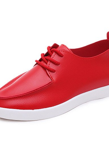 ZQ hug Scarpe Donna - Stivali - Casual - Punta arrotondata - Piatto - Finta pelle - Nero / Rosso / Bianco , red-us8 / eu39 / uk6 / cn39 , red-us8 / eu39 / uk6 / cn39 black-us6.5-7 / eu37 / uk4.5-5 / cn37