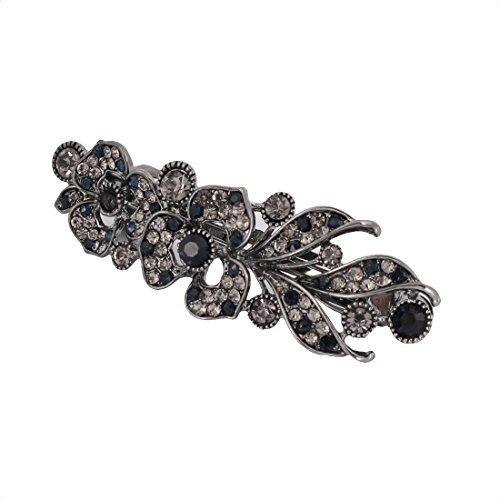 DealMux Strass Akzent Metall Lady Flower Embellish Artificial Geschnitzte HaarBarrette Clip -