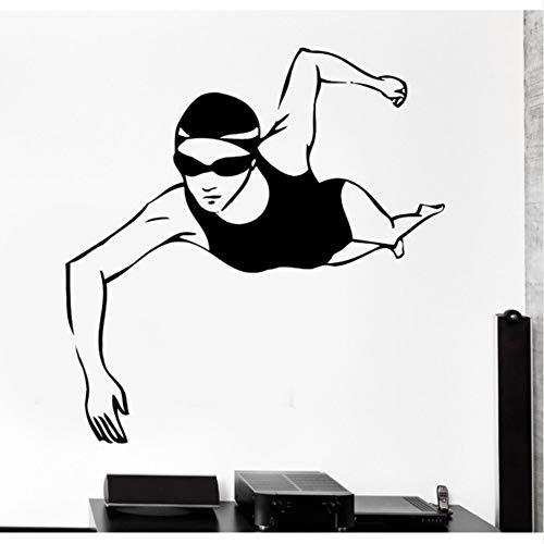 Wuyyii 58X66 Cm Wand Vinyl Sport Schwimmen Schwimmen Schwimmer Frau Mädchen Weiblich