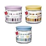 Confezione da 3pz Contenitori barattoli in vetro decorato con tappo ermetico salvafreschezza sale zucchero caffè Bormioli Giara