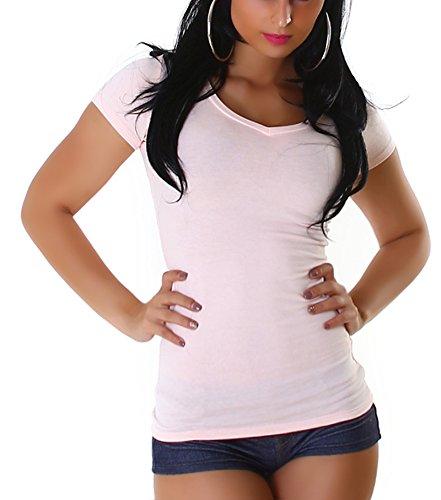 Jela London Damen Basic T-Shirt Slim-Fit Rundhals oder V-Ausschnitt Rose (V-Ausschnitt)