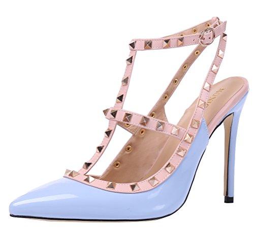 MONICOCO oversize candy boucle t-spangen creux couleurs de chaussures en cuir verni escarpins avec rivets Hellblau Lackleder