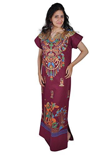 Cleopatra Pharao Kostüm Damen-Kaftan Faschingskostüm Karnevalskostüm Ägypterin, weinrot (S (36-38))