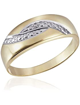 Goldmaid Damen-Ring Bicolor 375 Gelbgold 1 Diamant 0,01 ct.