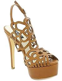 Toocool - Scarpe donna sandali traforati cinturino tacchi MARRONE Queen  Helena S2415BR fbced1f896b