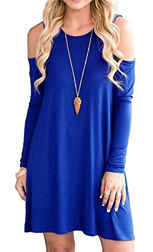 HAOMEILI Damen Langarm Kalte Schulter Swing Kleid Tank Top Loose Casual T-shirt Kleid mit Pocket 2XL Langarm Blau