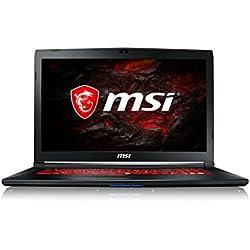 """MSI GL72M 7RDX-1006XES - Ordenador portátil de 17.3"""" FHD (Kabylake i7-7700HQ, RAM de 8 GB DDR4, HDD de 1 TB y SSD de 256 GB, Nvidia GeForce GTX 1050, sin sistema operativo) color negro"""