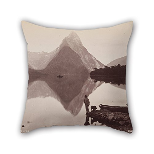 beautifulseason Pillow Cases of Oil Painting Frank Coxhead - Mitre Peak, Milford Sound, NZ. from The Album- 'Australasian Scenery',for Seat,Monther,Kids,Husband,Home Theater,Monther 18 X 18 inches -