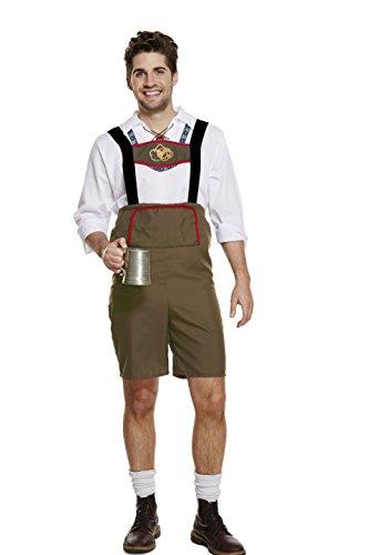 Herren Trachten Hose Oktoberfest Kostüm von Emma's Wardrobe - komplett-Set, Outfit mit Hemd, Hosenträgern und Hut, Kleidung für z.B. Fasching, Karneval, Party oder Wiesn, weiß braun (Medium, Braun)