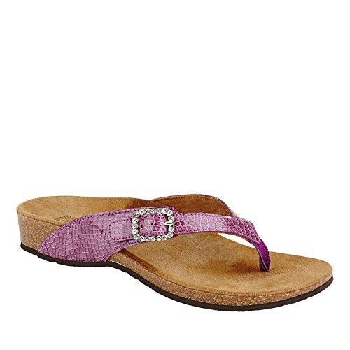VIONIC Isabeal Womens Toe-Post Orthotic Sandal Purple Patent Snake - 9