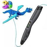 3D Stift, Tecboss 3D Pen mit LCD Anzeige, 3d Drucker Stifte für Kinder, Erwachsene, 8 Einstellbare Geschwindigkeit 3D Stifte Kit mit PLA und ABS Modus, Passt für DIY, Kritzelei, Zeichnung und Kunst & Handgefertigte Werke, Schwarz