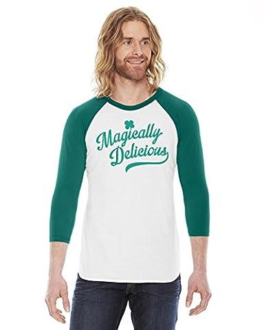 Crazy Dog TShirts - Magically Delicious RAGLAN Shirt Funny Ringer Tee For Saint Patricks Day (green) M - herren - M