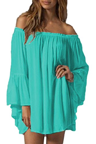 Zilcremo Women Summer Off Shoulder Ruffles Sleeve Tunic Dress Beachwear Plus Size Blue XXL