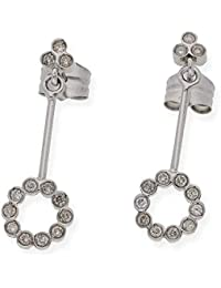 a044002801e6 Zendel Joyas - Par de pendientes articulados de diseño redondo de oro blanco  de 18 kt. y diamantes talla…