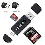 KiWiBiRD Micro USB OTG et USB 2.0 Adaptateur; Lecteur de Carte SD/ Carte Micro-SD et...