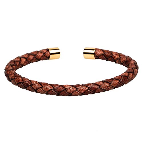 Mendozza Herren Armreif Leder Armband Schmuck Edelstahl Größenverstellbar Braun-Gold (MJ-BA46851G) (Herren-leder-gold-armband)