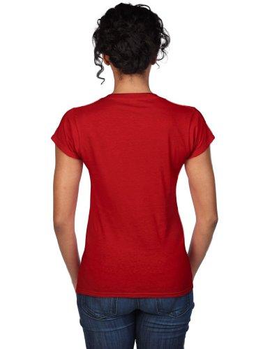 Gildan doux style T-shirt pour femme avec col en V 64V00l Rouge - Rouge