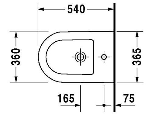 Duravit Wand Bidet Darling New 540 mm, 1 Hahnloch, weiss WonderGliss, 22491500001