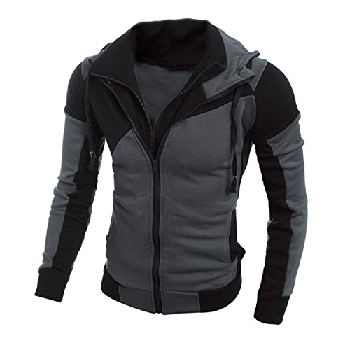 G Männer Mantel Retro Langarm Hoodie Sweatshirt Tops Jacke Winter Patchwork Mantel Outwear (XL, Schwarz) (Winter Home Decor)