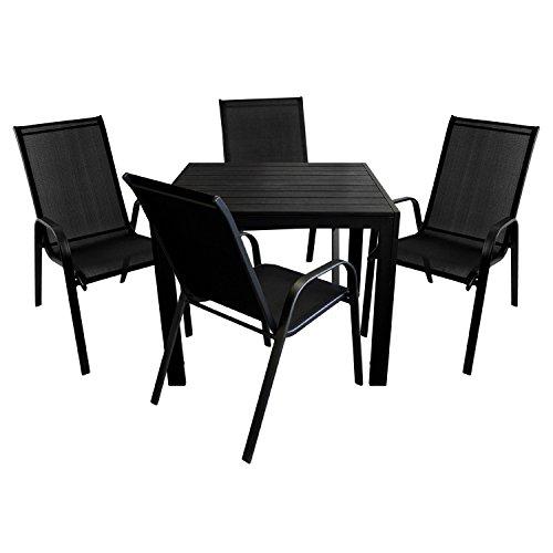 5tlg. Gartenmöbel Set Aluminium Polywood Gartentisch 90x90cm + 4x Stapelstuhl mit Textilenbespannung - schwarz / Gartengarnitur Terrassenmöbel Balkonmöbel Sitzgarnitur Sitzgruppe