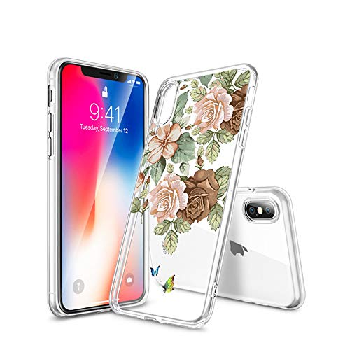 Spilay iPhone XS Max Case, Clear Soft TPU Flowers Floral Printed Cover for Women Womens Snow Flower