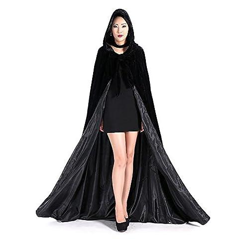 Dressvip Cape à capuche Unisexe en Velours Noir Longue Médiévale Déguisement Halloween Cosplay Noir XL