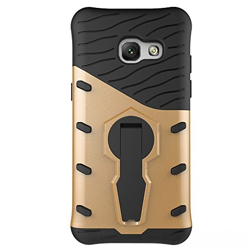 Für Samsung Galaxy A3 2017 Case Tough Hybrid Heavy Duty Shock Proof Defender Cover Dual Layer Armor Combo Mit 360 ° Swivel Stand Schutzhülle Fall ( Color : Black ) Gold