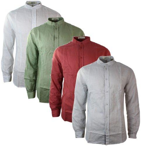 Camicia estiva bianca rossa grigia o verde da uomo in lino e colletto alla coreana verde s