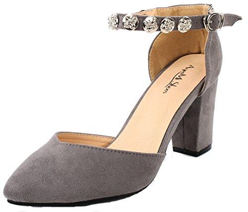 AgeeMi Shoes Damen Spitz Zehe Blockabsatz mit Schnalle Knöchelriemen Pumps,EuD24 Grau 40