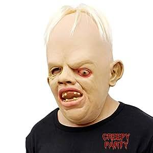 CreepyParty Deluxe Novità Halloween Costume Festa Latex Uomo Testa Maschera Strizza Gli Occhi